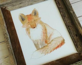 Fox, Woodland Animals Art, 8x10 Art Print, Watercolor Painting, Nursery, Baby Animals, Hedgehog, Moose, Bear, Pine Trees, Framable Art