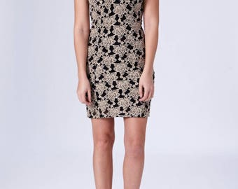 Tapestry Tan-Brown & Black Cut Out Bodycon Dress With Polyester Lining