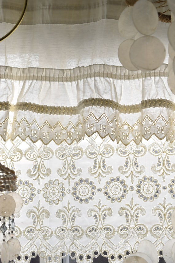 one long short panel white lace cutout window valance curtain / window decor / 3 available