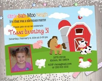Farm animals birthday party invitation invite girl barnyard birthday invitation photo picture party printable