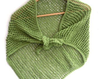 Asymmetrical lace cotton shawl , hand knit mesh wrap in apple green. Can custom knit in your choice of colour