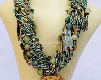 Green African Masai beaded Jewelry,Chunky African Beaded necklace,Green Statement African jewelry