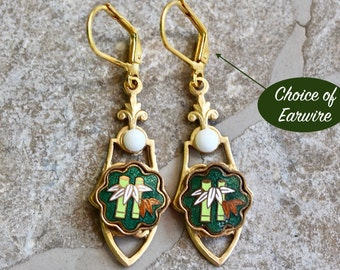 Reclaimed Vintage Earring Assemblage, Pierced, Gold Enamel Filigree Cloisonne Hook Options Recycled Milk Glass Jennifer Jones, OOAK - Bamboo