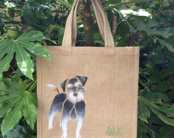 Schnauzer Dog hand painted jute bag