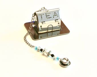 House Tea Infuser with Teacup Charm- Faux Pearl and Blue Beads, Beaded Mesh Tea Ball, Mad Hatter Tea Party,  High Tea, Tea Brewing, Tea Gift