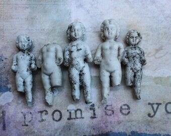 4 Frozen Charlotte Dolls Unglazed 2 inch Broken German Antique