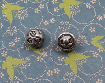 Vintage Silver Ball Buttons Shirt Dress Sewing Notion Lot of 2 Flower Design