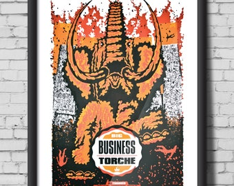 TORCHE & BIG BUSINESS screen print gig poster - Portland, Oregon, metal, mammoth, buildings, concert, fire, art, print, silk screen, decor