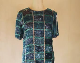 Shades of Blue Sequin Slouchy Checkered Shirt Top Glam