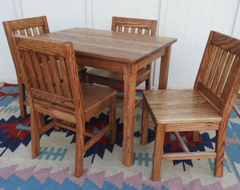 """Wood Children's Table (24""""H) and 4 Chairs Set (14"""" seat height) Dark Oak Mission Style - Quality Childrens Furniture Made to Order"""