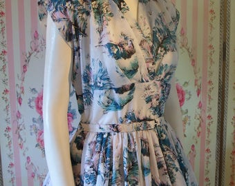 Beautiful Vintage 1950s Novelty Feather Print Day Dress by Rhona Roy S M Small Medium 27 28 Waist
