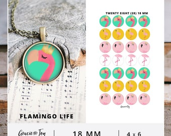 18 mm, Printable cabochon, digital download, Gracie and Joy, Tropical, Boho, Colorful Cabochon, Boho Pattern, Bottle Cap Image, Flamingo