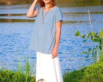 Boxy Short Sleeve Top - Oversized Loose  T - Shirt - Festival Clothing - Organic Clothing