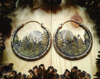 Pine Forest Hoop Earrings Ritual Remains Brass Mountain Earrings Mountain Ring Witchy Jewelry Mountains Full Moon Moon Phases Nature Gifts