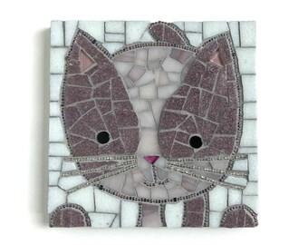 Mosaic Cat Wall Art, Cat Art, Purple Cat Mosaic