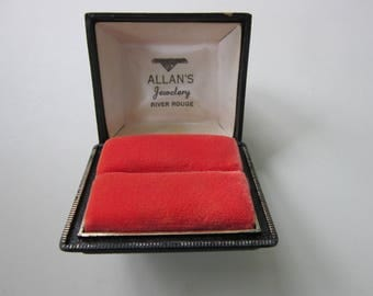 Allan's Jewelery Ring Box River Rouge Michigan Black Plastic Coral Velvet Vintage