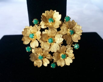 Gold Floral Brooch with Green Stones, Gold Flower Brooch, Green Stone Brooch, Brooch