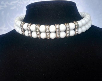 Milk Glass Choker, Vintage Milk Glass Necklace with Rhinestones, White Choker with Rhinestones, White Choker