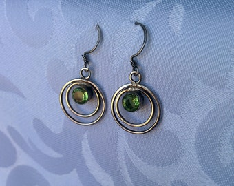Sterling Silver and Peridot Earrings, Peridot Earrings, Sterling earrings, Silver Earrings