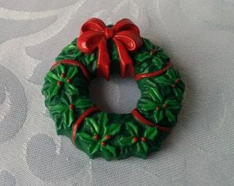 RUSS Christmas Wreath Pin, RUSS, Christmas Wreath, Christmas Brooch, Christmas Wreath Brooch