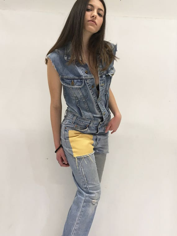 Denim Overall Jumpsuit LOLA DARLING Lee Jacket, Levi's 517 Vintage Jeans Recovered, Yellow and Gray Fabric Patch, on Back Authentic Drawing