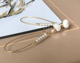 Gold White Sapphire and Pearl Hoop Earrings