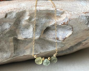 Dainty Aquamarine Necklace in Gold or Silver