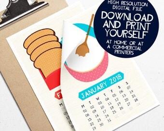 Printable Foodie 2018 Calendar Kitchen Food Illustration