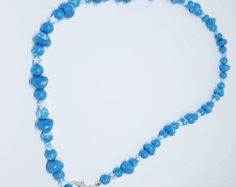 Powder blue beads in assorted sizes with stars necklace