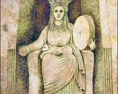 Cybele Great Mother Handmade Archival 5 x 7 Blank Card, Goddess of Sacred Caves, Great Mother of all Asia Minor.