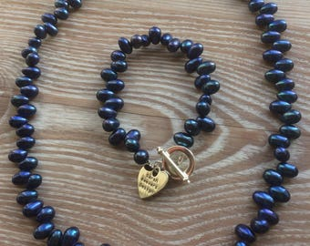 Pearl Necklace Indigo Blue fresh water pearls with toggle clasp UK made