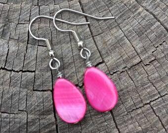 Hot Pink Mother of Pearl Teardrops . Earrings