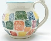 Patchwork Quilt Pottery Mug, Soup Mug, Large Handmade Soup Mug