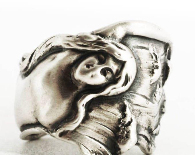 Mermaid Ring in Size 5.25, Sterling Silver Spoon Ring, Art Nouveau Mermaid, 925 Ocean Jewelry, Silver Mermaid Spoon Ring, Gift for Her, 7005