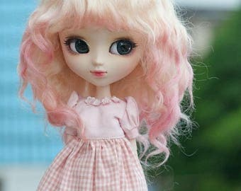 "9-10"" Size Light Blonde Pink Gradient Curly Mohair Wig with Fringe for Pullip and Volks 1/3 BJD SD Dolls"