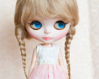 "Light Brown Mohair Blythe Wig with Braids and Fringe 10-11"" Size Doll Wig"