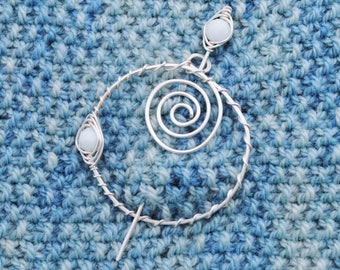 Round White and Silver Shawl Pin