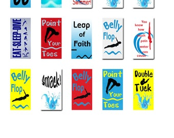 Springboard Diver, Diving, Water Sports, Domino 1 x 2 inch, Instant Download, Digital Image Collage Sheet (17-2)