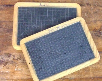 2 vintage French Slate Chalkboard Childs Chalk board Blackboard pair two