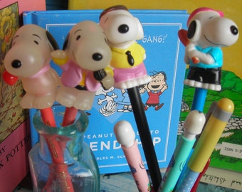 Lot of 4 Snoopy Pencils Toppers and 3 Snoopy Mechanical Pencils. Each Different.