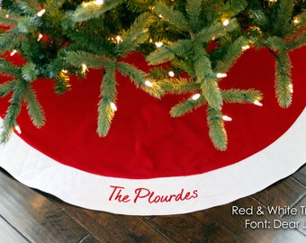 Wedding Gift. Wedding Present. Personalized Christmas Tree Skirt. Unique Traditional Red or Burgundy Velvet w/ Ivory or White Quilted Trim.