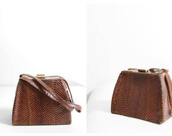 1940s Handbag - 40s Handbag - Small Brown Alligator Handbag