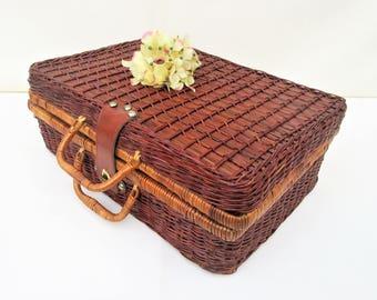 Vintage Picnic Basket   Wicker Suitcase   Picnic Hamper   Rattan Case   Wicker Storage Chest
