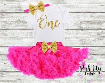 One birthday girl outfit, birthday girl top, hot pink birthday girl bodysuit and pettiskirt with matching sequin bow headband