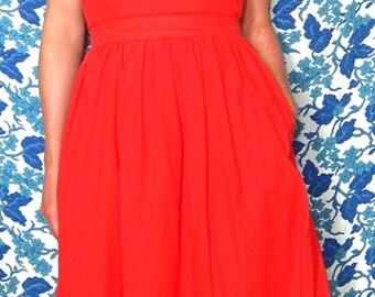 Vintage Red Cotton Wrap Dress/Apron Dress