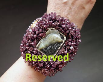 """Reserved for birtasophia FREE SHIPPING Bead Embroidery Cuff   """"Fish""""  Bracelet"""