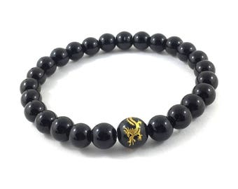 Obsidians Dragonglass Mens Beaded Bracelet, Mens Inspirational Jewelry, Onyx Dragon Bead Mala Bracelet, Healing Energy, Meditation Bracelet