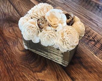 Woodland Sola Wood Flower Centerpiece- Farmhouse Decor- Rustic Decor- Wedding Centerpiece