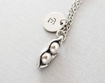 Two Peas In A Pod Necklace, Mom Necklace, Mother Jewelry, Friend Gift, Silver Jewelry, Personalized, Monogram,Hand Stamped Letter Initial