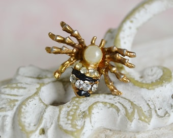 Vintage Spider Scatter Pin with Faux Pearl Head and Rhinestone Body